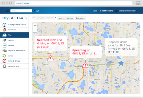 GEOTAB Detailed and Accurate Trip Reporting